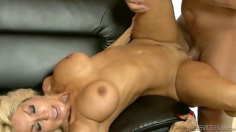Wife catches man fucking her big tits mother on the sofa with anal