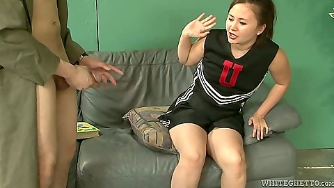 Asian cheerleader in uniform Kita Zen touching mans cock in cfnm