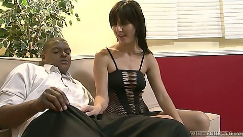 Blowjob with sexy white milf for a big black cock