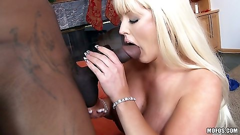 Alura Jenson sucks a huge black cock in a milf blowjob