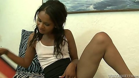 Ebony petite cutie Cali Sweets goes down in her own pussy