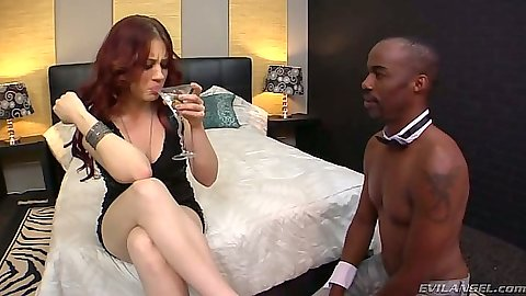 Redhead Jessica Ryan has a sip then prepares to face sit