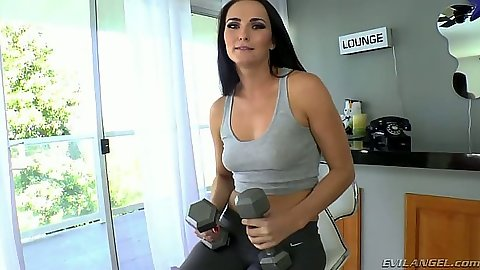 Athletic all natural Bianca Breeze working out and showing tits and ass