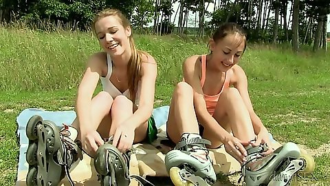 Alexis Crystal and El Storm outdoor young girls kissing each other lesbians