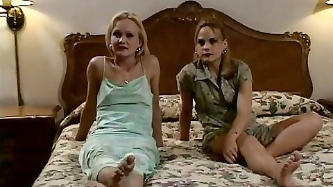 Two lesbian hotties in lingerie in a retro scene Katie Gold and Shay Sweet