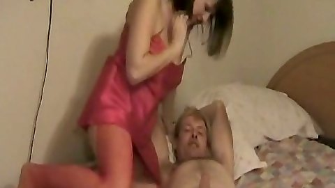 Lingerie amateur milf Sweet Obsession sits on husband cock