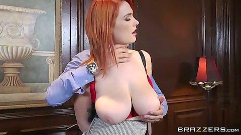 Huge natural tits redhead Siri strips naked
