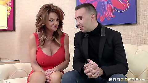 Redhead milf sucks dick and balls on Deauxma