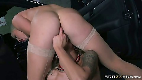 Nina Elle and Cameron Dee fingering each other with anal dildo lesbians