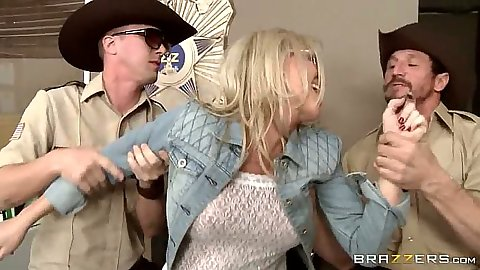 Blonde milf Simone Sonay fucks two cocks