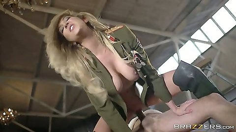Hot army uniform slut babe Lexi Lowe sitting on cock and kissing