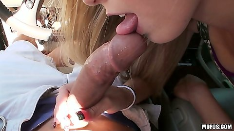 Blowjob with Olivia in the car on the road
