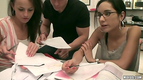 Fully clothed college group Chanel White and Missy Martinez with Jasmine Lopez