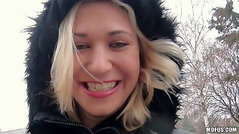 Public picking blonde euro skank Linda Ray and we go for a walk