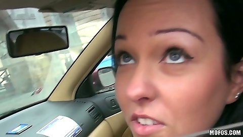 Public pick up of Natali Blue while in her car she gets some cash