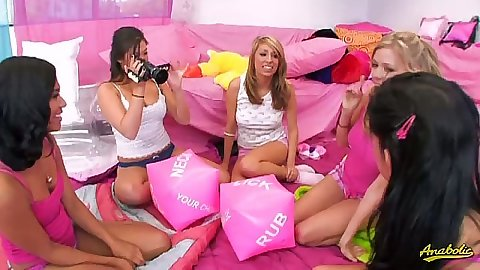 Lesbian teen party with Tanner Mays and Emy Reyes and London Keys