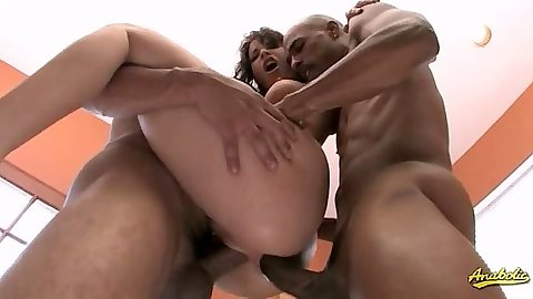 In the air double penetration with rough sex slut Dana DeArmond