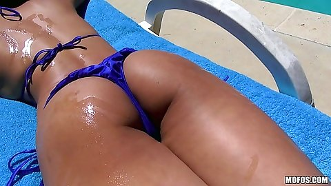 Bikini oil asian chick Sharon Lee posing by the pool
