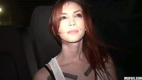 Redhead fully clothed Indigo Augustine flashing her tits