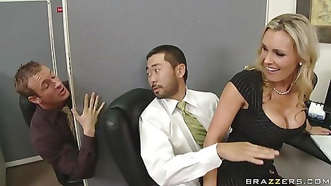 Coworker is gettingi seduced by hot Tanya in cubicle