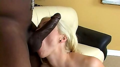 Interracial blowjob with blond sucking on those balls Adrianna Nicole
