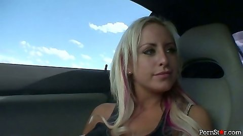 Blonde Savannah Gold going for a drive looking hot