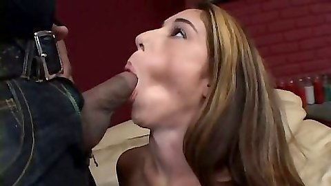 Blowjob with Sweetpea trying desperately to deep throat a large fat cock