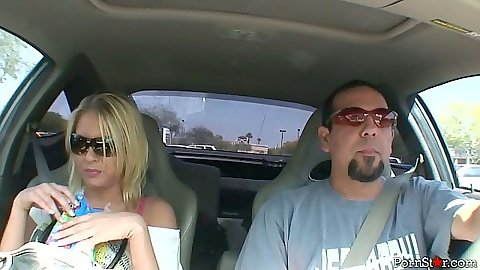 Blonde Riley Evans driving and around and walking in her house in bra