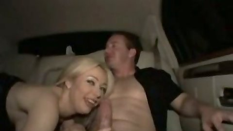 Blonde Petal Benson smiles then sucks dick and rimjobs man in backseat