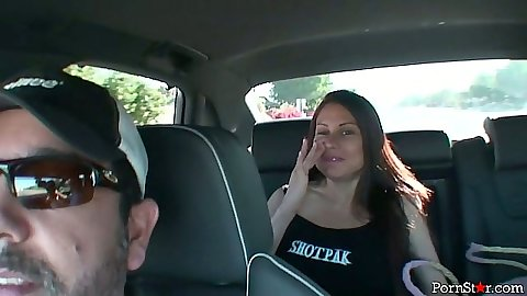 Sheila Marie milf in the backseat hitting a restaurant to eat and flashes boobs outdoors