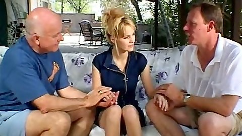 Blond threesome mifl Rebecca Starr undressed by 2 older man