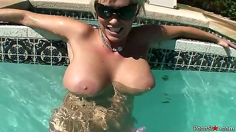Big tits softcore solo in the pool with nice blondie Carly Parker