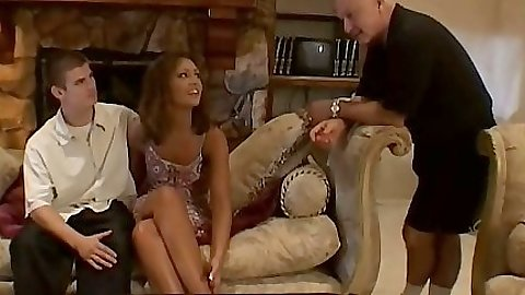 Francesca sitting with husband preparing for a cuckold