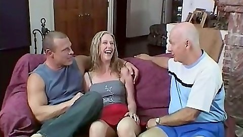 Katie Morgan goes to suck dude while older men watch
