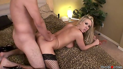 Doggy style fishnet stockings girl Carolyn Reese