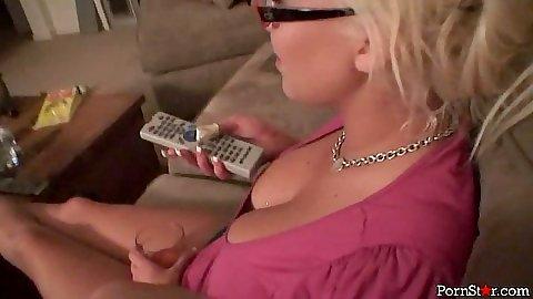 Big tits Carly Parker handjob and pov licking those balls