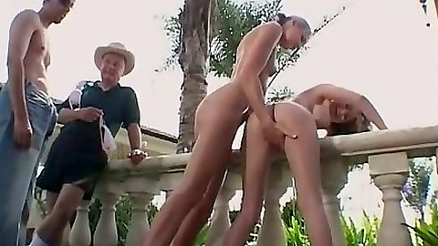 Fingering standing milf girls and teaming up on girls Yasmine and Ashley Long
