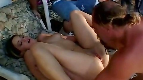 Pussy eating Tabitha Bleu with her pierced clit stud and sex outdoors