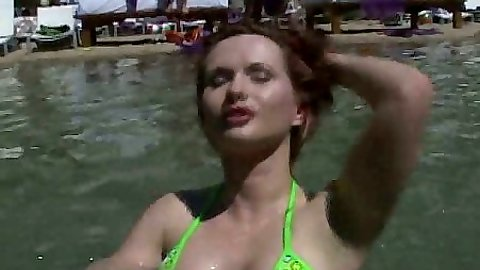 Bikini Katja Kassin public getting wet in hotel pool