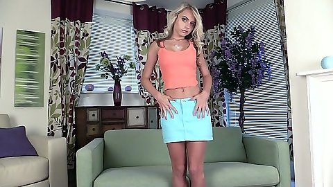Undressing college teen Chloe Toy from her short skirt