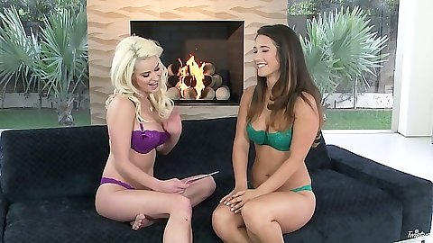 Bras and panties Eva Lovia and Spencer Scott interview looking hot
