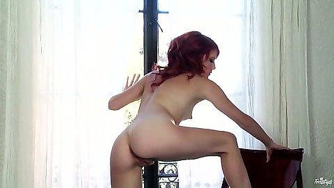 Redhead small tits petite Elle Alexandra wearing high heels shoes