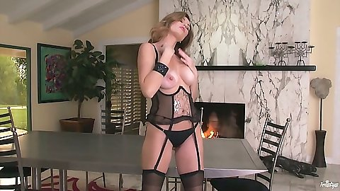 Big natural tits Jamie Lynn with exposed boobs in lingerie solo