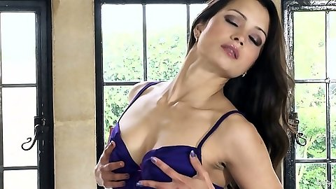Brunette small tits Chelsea French and stockings