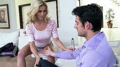 Blonde Cherie DeVille and a blowjob with deep throat