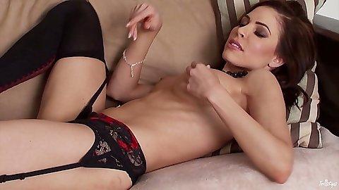 redhead stockings girl Erika Jordan with hairless pussy