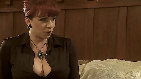 Redhead fully clothed Kylie Ireland gives guy a taste