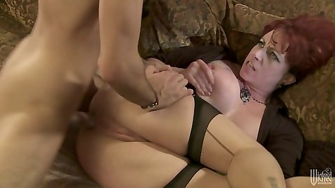 Sideways stockings sex and anal penetration with Kylie Ireland