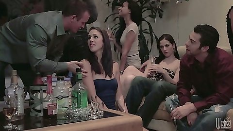 Party college group of just friends Belle Noire having friend sex