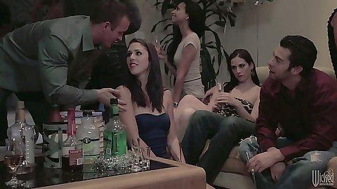 Party college group of just friends Belle Noire having friend sex